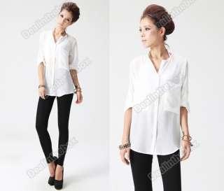 Fashion Women Simple Basic Sheer Chiffon T Shirt Blouse With Pockets 2