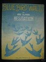 1914 BLUE BIRD WALTZ Abe Olman sheet music bluebird