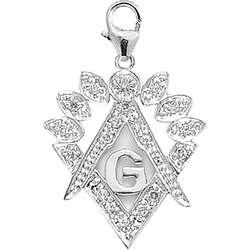 14k Gold 1/10ct TDW Diamond Masonic Symbol Charm