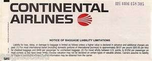 Airline Ticket   Continental   4 Flt   1988 (T177)