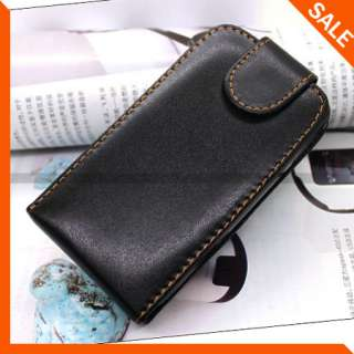 Black Flip Leather Case Cover for HTC HD7 New