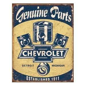 Chevy Logo Pistons Genuine Parts Metal Tin Sign: Home