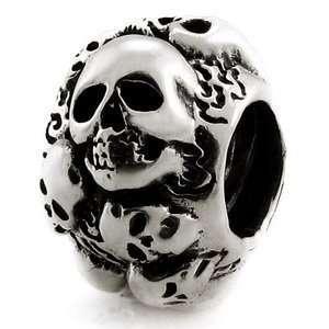 Ohm Skulls Bead Sterling Silver for European Charm Bracelet: Jewelry