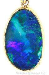 black opal 14K gold pendant aqua royal blue green violet Australian