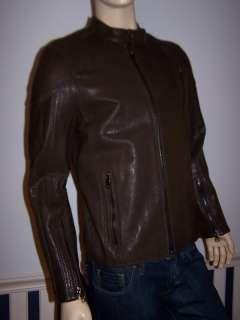 SCHOTT NYC Mens Mocha Brown Pebble Leather Racer Jacket
