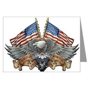 Greeting Cards (20 Pack) Eagle American Flag and Motorcycle Engine