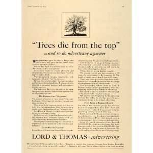 1935 Ad Lord Thomas Advertising Agency Tree Branches