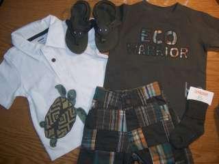 NWT Gymboree Baby Boy Tiki Chief Turtle Shirt MADRAS Shorts Lot 5