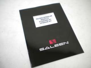 Saleen Mustang Supercharger Upgrade Install Manual 4.6