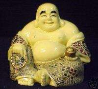 Hand Painted Bone Chinese Money Happy Prosperity Buddha |