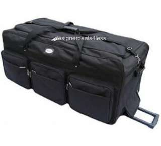 NEW 42 XL BLACK ROLLING WHEELED DUFFEL BAG LUGGAGE SPORTS GEAR