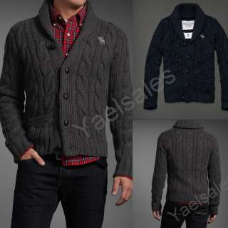 2012 Abercrombie Hollister Mens Wool Button Cable Knit Sweater