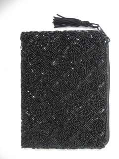 NEW LANCOME Black Beaded Small Coin Purse Clutch Bag