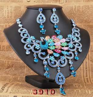 Slap up Peacock Czech Rhinestone Crystal New Necklace Earring set