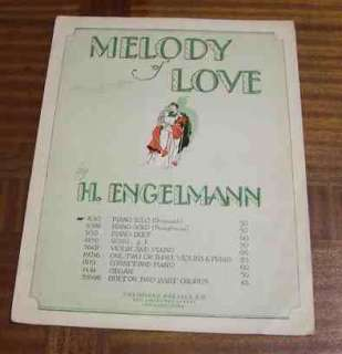 Vintage Sheet Music MELODY OF LOVE Engelmann Piano Solo