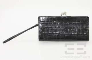 Burberry Black Leather Crocodile Embossed Kiss Lock Wristlet