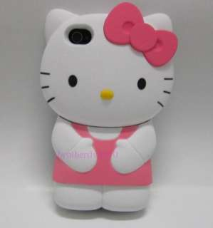 Pink Cute 3D Hello kitty Back Hard Case Cover Skin For Apple Iphone 4