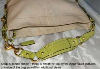 COACH CARLY Natural/Green Canvas/Leather Medium Hobo Bag 10448 GUC