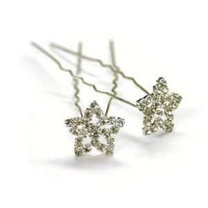 Crystals Star Shaped Pattern Hair Pins Sticks [PACK OF 6] Everything