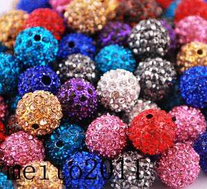 color 10MM Crystal bead FOR Pave Disco Balls Charms Bracelet @