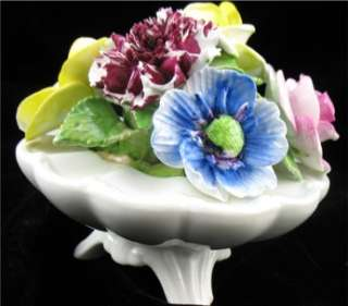 Art Pottery Bone China Staffordshire Floral Vase Basket Bouquet |