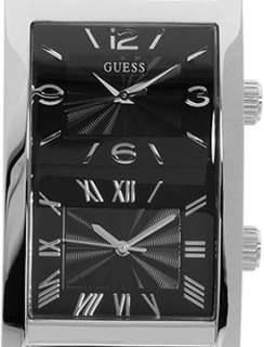 NEW GUESS BLACK LEATHER DUAL TIME MENS WATCH U10557G1