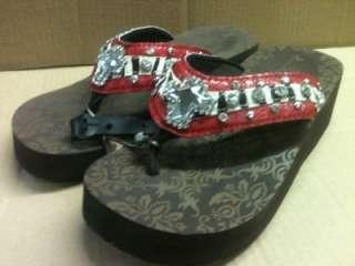 Red & Zebra Western Diamond Cut Cross Rhinestone Flip Flop Sandals