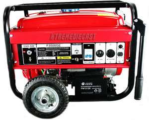 3500W 6.5HP Gasoline gas Generator Electric battery Start Wheels kit