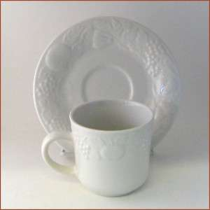 Gibson Cup and Saucer Set Embossed Fruit Design White
