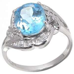 Blue Topaz Gemstone and Diamond 10k White Gold Ring(Limited Edition