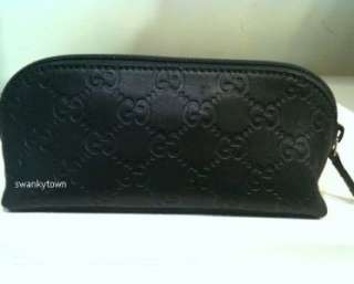 NEW GUCCI BLACK GUCCISSIMA LEATHER Travel Makeup/Cosmetic BAG