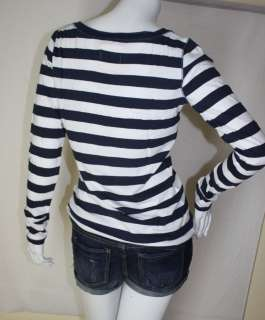 NWT HOLLISTER BETTYS WOMENS V NECK STRIPE LONG SLEEVE SHIRT GREY BLUE