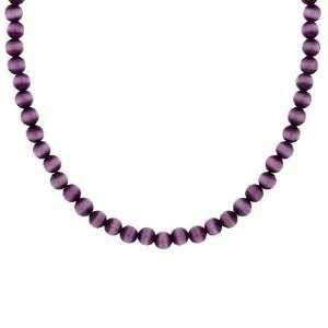 4mm Simulated Purple Cats Eye Stone Bead Beaded Chain 15 19 Necklace