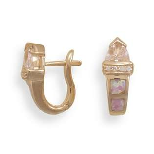 14 Karat Rose Gold Plated and Synthetic Pink Opal Earrings  CleverEve