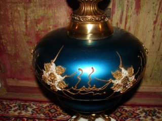 /Antique Beautiful Blue Embossed Rose Flowers Brass Marble Table Lamp
