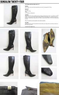 GUCCI high heeled black leather boots 8 1/2