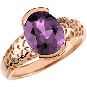 14K Rose Gold Amethyst and Diamond Ring Jewelry