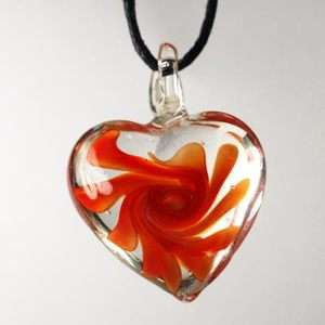 Ladys Murano Lampwork Glass Orange Heart Style Pendant Necklace Chain