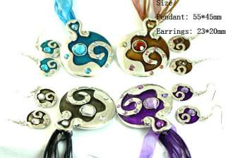 H770 Womens Wedding Gemstone CZ Circle Necklace Pendant Earrings Set