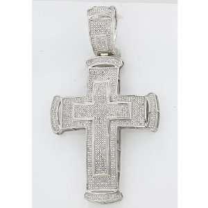 Sterling Silver Micro Pave White Diamond Mens Hip Hop Religious Cross