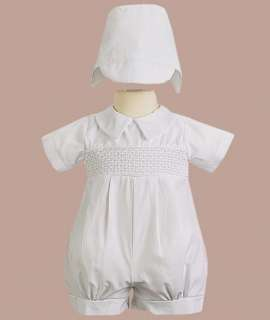 Baby Boys White Cotton Christening Baptism Blessing Suit Outfit USA