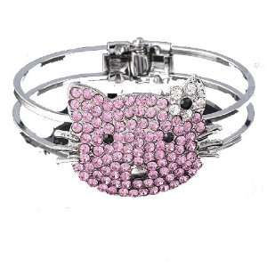 Kitty Pink Bracelet with Rhinestone & Crystal By Jersey Bling Jewelry