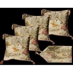 Four Aubusson Style Cushion/pillow Covers +Matching Table