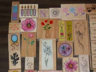 HUGE LOT *** 50+ ASSORTED WOOD MOUNTED RUBBER STAMPS (LOT P)