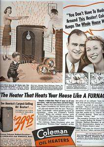 1941 COLEMAN Oil Heaters AD~family keeps warm~40s