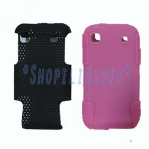 GALAXY S 4G/VIBRANT T959 BLK PINK HYBRID HARD+SOFT SILICONE CASE COVER