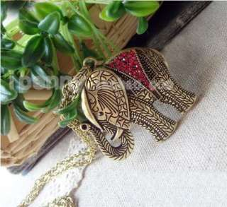 Nice Retro Bronze Red Rhinestone Elephant Valentines Necklaces