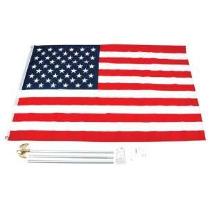 New 3ft X 5ft United States Flag And Pole Kit Wall