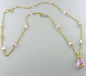 JUDITH RIPKA 18K GOLD PINK CRYSTAL DIAMOND NECKLACE