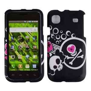 Black with White Pink Skull Heart Design Rubberized Snap